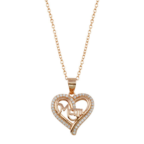 Wholesale Sterling Silver 925 Rose Gold Plated Mom Heart CZ Pendant - STP01790