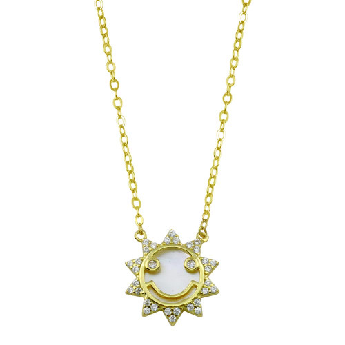 Wholesale Sterling Silver 925 Gold Plated CZ Synthetic MOP Sun Necklace - STP01793GP