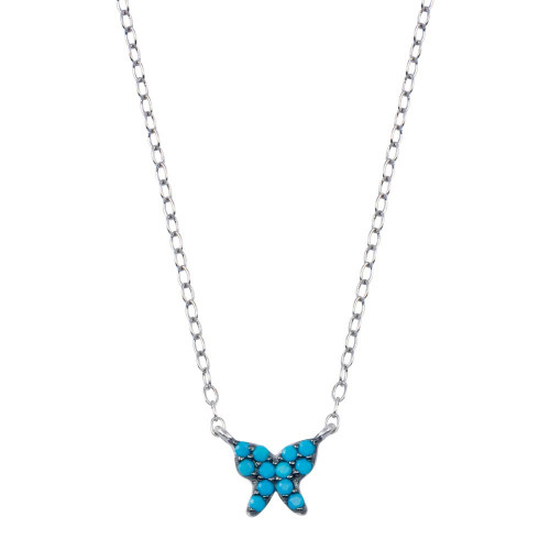 Wholesale Sterling Silver 925 Rhodium Plated Turquoise Butterfly Necklace  - STP01796