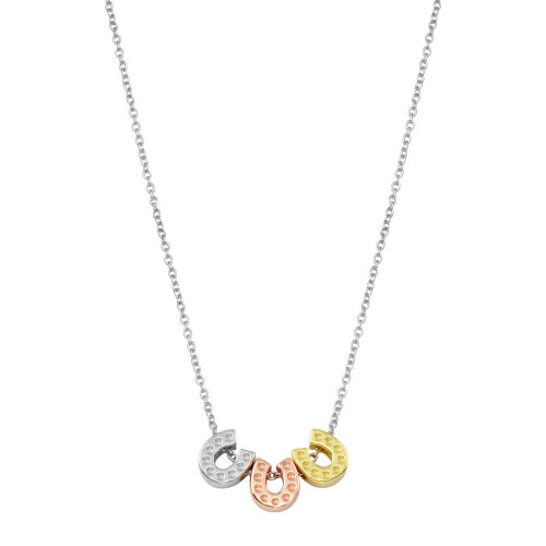 Wholesale Sterling Silver 925 Rhodium Plated Multicolor Horseshoe Necklace  - STP01799