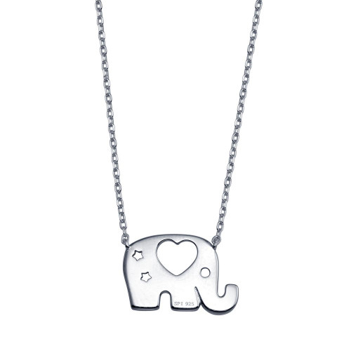 Wholesale Sterling Silver 925 Rhodium Plated Elephant Heat Star Necklace - STP01803