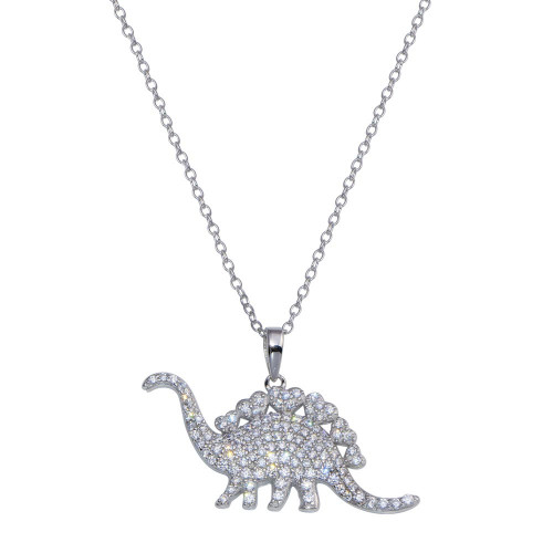 Wholesale Sterling Silver 925 Rhodium Plated Dinosaur CZ Necklace - STP01805