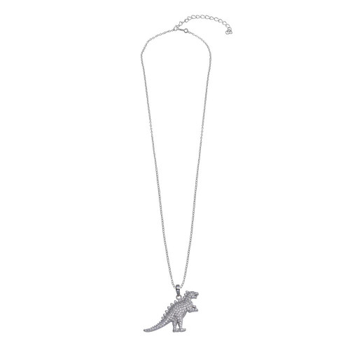 Wholesale Sterling Silver 925 Rhodium Plated Dinosaur CZ Necklace - STP01806