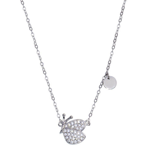 Wholesale Sterling Silver 925 Rhodium Plated Butterfly CZ Necklace - STP01807