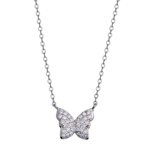 Wholesale Sterling Silver 925 Rhodium Plated Butterfly CZ Necklace - STP01808