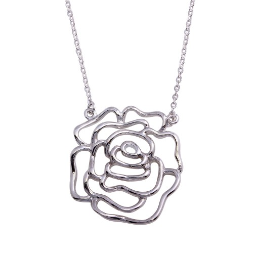 Wholesale Sterling Silver 925 Rhodium Plated Outline Flower Necklace - STP02000