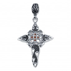 **Closeout** Wholesale Sterling Silver 925 Rhodium Plated Flame Cross Pendant with CZ - STPM00001