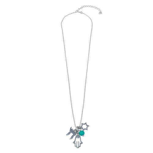 Wholesale Sterling Silver 925 Rhodium Plated Clear CZ Hamsa Star Blue Bead Pendant Necklace - STP00710