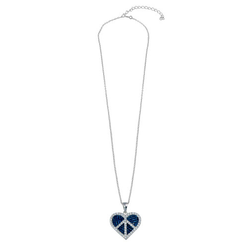 -Closeout- Wholesale Sterling Silver Rhodium  Plated Blue Jeans Clear CZ Heart Pendant Necklace - STP00722