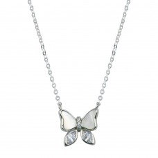 Wholesale Sterling Silver 925 Rhodium Plated Butterfly CZ Mother of Pearl Necklace - STP01765