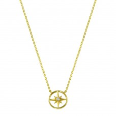 Wholesale Sterling Silver 925 Gold Plated Northern Star Necklace - STP01774GP