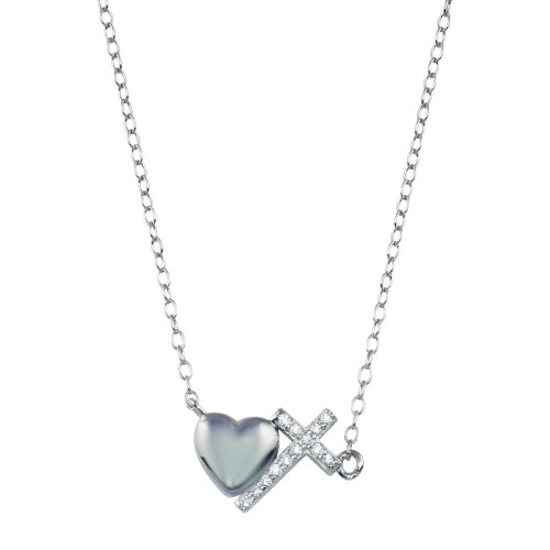 Wholesale Sterling Silver 925 Rhodium Plated Heart Cross Necklace - STP01784