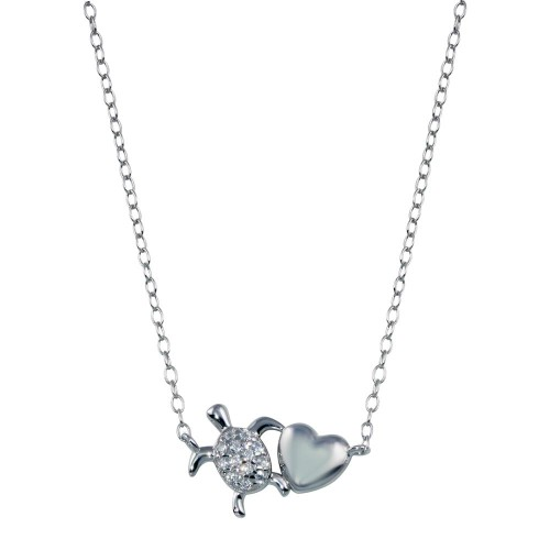 Wholesale Sterling Silver 925 Rhodium Plated Turtle Heart Necklace - STP01785