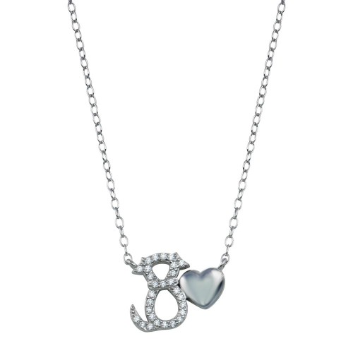Wholesale Sterling Silver 925 Rhodium Plated Dog Heart Necklace - STP01786