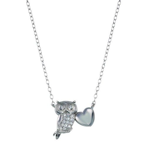 Wholesale Sterling Silver 925 Rhodium Plated Owl Heart Necklace - STP01787