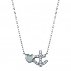 Wholesale Sterling Silver 925 Rhodium Plated Anchor Heart Necklace - STP01788