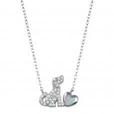 Wholesale Sterling Silver 925 Rhodium Plated Dog Heart Necklace - STP01789