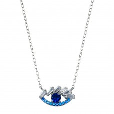 Wholesale Sterling Silver 925 Rhodium Plated Evil Eye Baguette CZ Necklace - STP01791