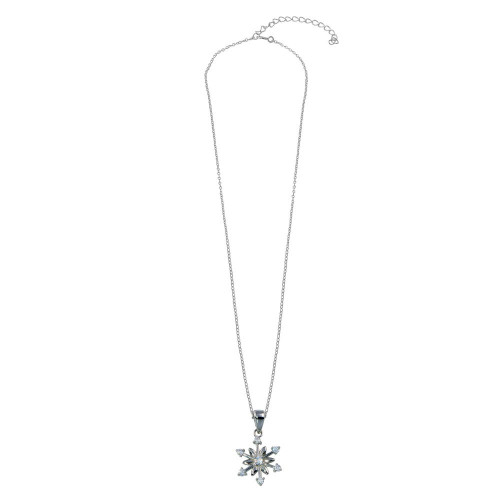 Wholesale Sterling Silver 925 Rhodium Plated Flowers and Arrows CZ Necklace - STP01794