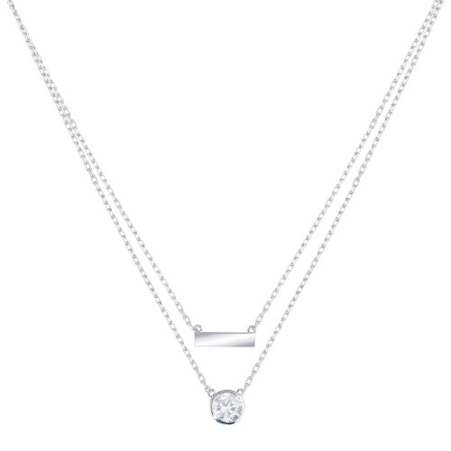 Wholesale Sterling Silver 925 Rhodium Plated Double Strand CZ and Bar Necklace - STP01798