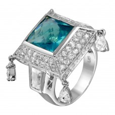 **Closeout** Wholesale Sterling Silver 925 Rhodium Plated CZ Encrusted Semi Pyramid Blue Center Stone Ring - STR00059