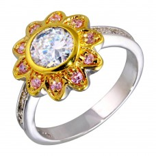 **Closeout** Wholesale Sterling Silver 925 2 Toned Clear and Pink CZ Flower Ring - STR00103