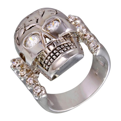 -Closeout Items- Wholesale Sterling Silver 925 Rhodium Plated CZ Eye Cracked Skull Ring - STR00135