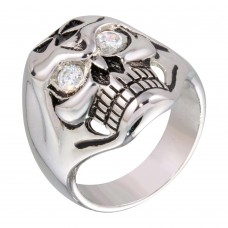 **Closeout** Wholesale Sterling Silver 925 Rhodium Plated CZ Eye Skull Ring - STR00161