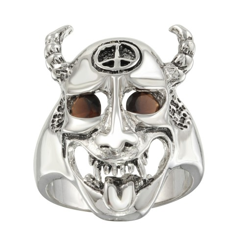 -Closeout Items- Wholesale Sterling Silver 925 Rhodium Plated Red CZ Ghoul Ring - STR00162