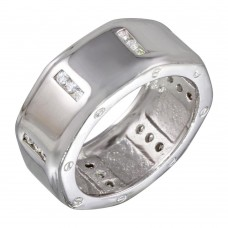 Wholesale Sterling Silver 925 Rhodium Plated Wide CZ Band - STR00209