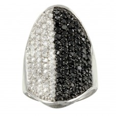 **Closeout** Wholesale Sterling Silver 925 Rhodium Plated Black and Clear CZ Encrusted Ring - STR00336