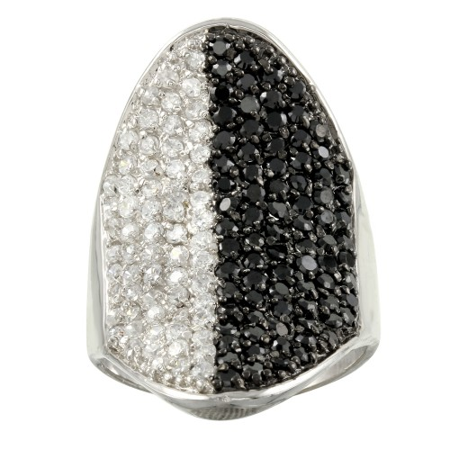 -Closeout Items- Wholesale Sterling Silver 925 Rhodium Plated Black and Clear CZ Encrusted Ring - STR00336