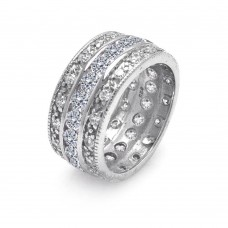 Wholesale Sterling Silver 925 Rhodium Plated Clear CZ Channel Eternity Ring - STR00508