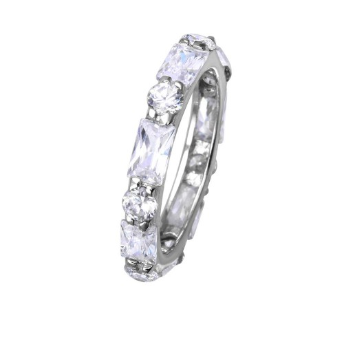 Wholesale Sterling Silver 925 Rhodium Plated Clear Baguette Clear CZ Eternity Ring - STR00516