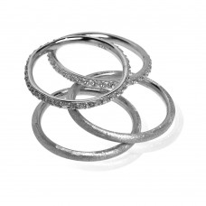 Wholesale Sterling Silver 925 Rhodium Plated CZ Ring Set - STR00517