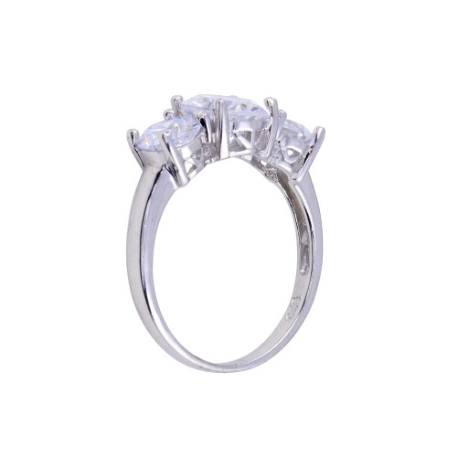 Wholesale Sterling Silver 925 Rhodium Plated 3 CZ Bridal Ring - STR00781