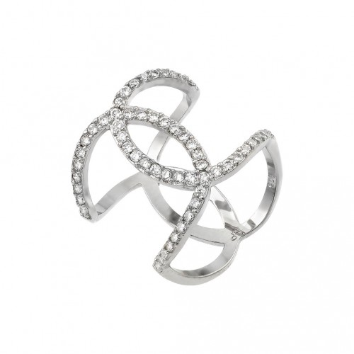 Wholesale Sterling Silver 925 Rhodium Plated Knotted CZ Ring - STR01008