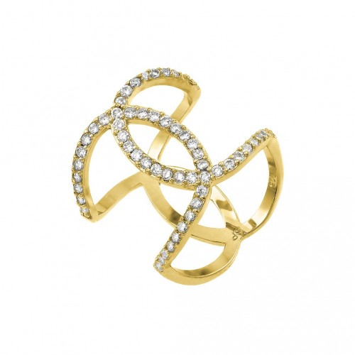 Wholesale Sterling Silver 925 Gold Plated Knotted CZ Ring - STR01008GP