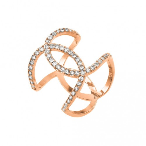 Wholesale Sterling Silver 925 Rose Gold Plated Knotted CZ Ring - STR01008RGP