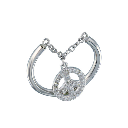 Wholesale Sterling Silver 925 Rhodium Plated Peace Ring - STR01016