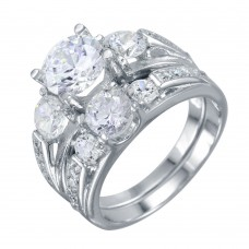 Wholesale Sterling Silver 925 Rhodium Plated Stackable CZ Rings - STR01018