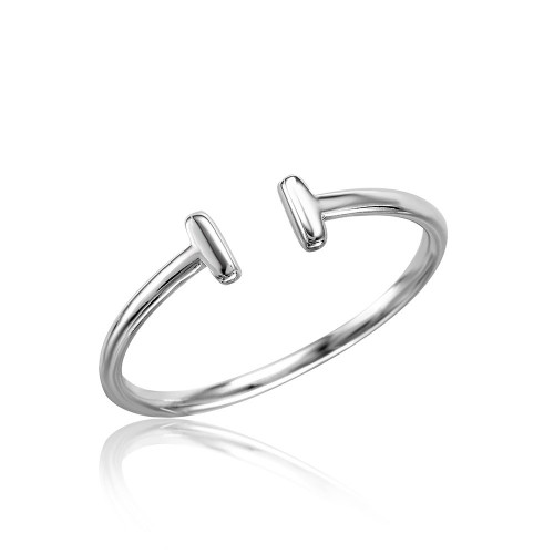 Wholesale Sterling Silver 925 Rhodium Plated Plain Open T Ring - STR01057