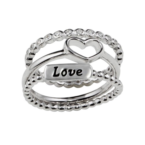 Wholesale Sterling Silver 925 Rhodium Plated Stackable Love Rings - STR01060