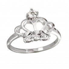 Sterling Silver Rhodium Plated Diamond Cut Crown Ring - STR01083