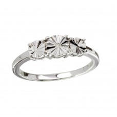 Wholesale Sterling Silver 925 Rhodium Plated Round Diamond Cut Past Present Future Ring - STR01084