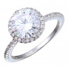 Sterling Silver Rhodium Plated Round CZ Stone Ring - STR01087