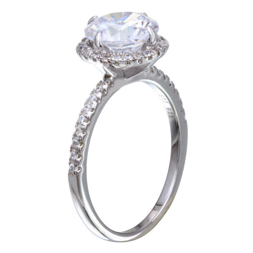 Wholesale Sterling Silver 925 Rhodium Plated Round CZ Stone Ring - STR01087