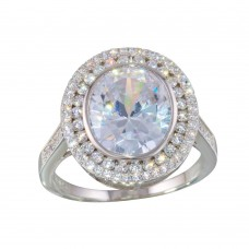 Wholesale Sterling Silver 925 Rhodium Plated Round CZ Ring - STR01088