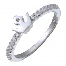 Sterling Silver Rhodium Plated Mini Crown Ring with CZ - STR01089