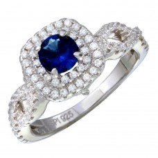 Wholesale Sterling Silver 925 Rhodium Plated  Blue and Clear CZ Ring - STR01090